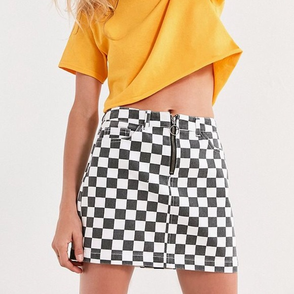 755bfcece Urban Outfitters Skirts | Bdg Checkered Denim Zip Mini Skirt | Poshmark
